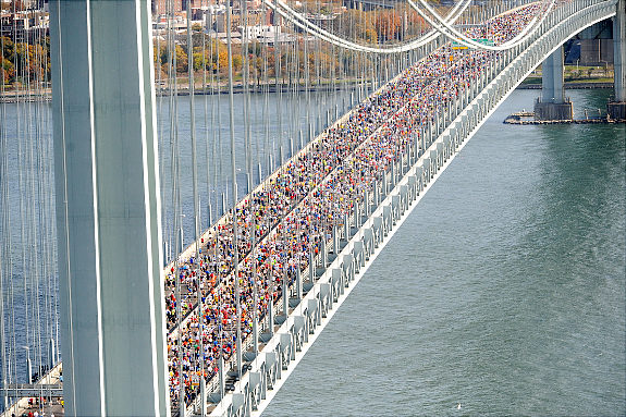 Aerial shots taken at the start of the 2008 New York City Marathon at the Verrazano Bridge.