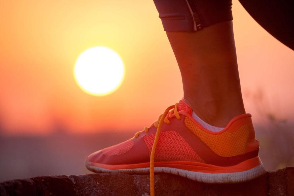 Close up of feet of a runner