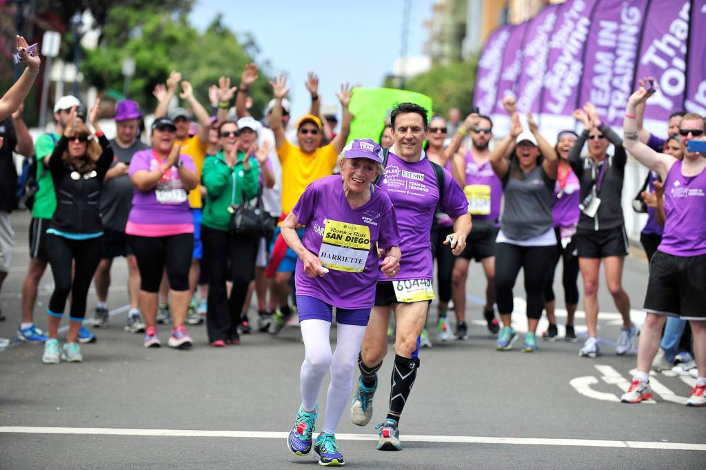 SAN DIEGO, CA - MAY 31: 92 year old Harriette Thompson and son Brenny Thompson, finish the Suja Rock 'n' Roll San Diego Marathon on May 31, 2015 in San Diego, California.   Jerod Harris/Getty Images for Rock 'n' Roll Marathon Series/AFP