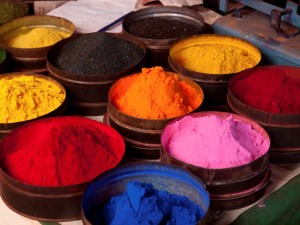 Fabric dyes in Cuzco, Peru