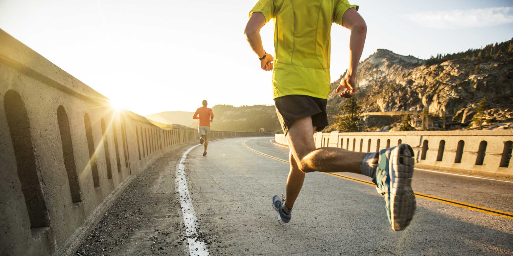 Two men on an early morning run.